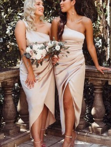 Charming Sheath One Shoulder Champagne Satin Slit Bridesmaid Dresses for Wedding Party Under 100 BD2031901