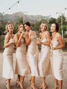 Charming Free Romantic Spaghetti Straps Champagne Silk Satin Bridesmaid Dresses for Wedding Party BD2032003