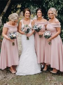 Elegant A Line Off the Shoulder Pink Satin High Low Bridesmaid Dresses, Mother of the Bride Dresses