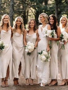 Fashion Scoop Neck Slit Ivory Silk Satin Spaghetti Straps Bridesmaid Dresses for Wedding Party
