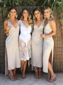 Chic Sheath V Neck Ruffled Satin Slip Bridesmaid Dresses with Slit Under 100, Simple Bridesmaid Dresses For Summer Wedding Party