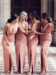 Chic Sheath One Shoulder Slit Blush Pink Long Bridesmaid Dresses with Slit