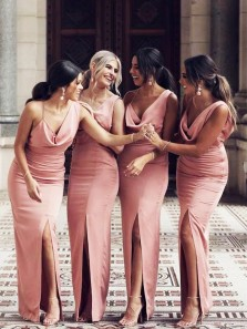 Chic Sheath One Shoulder Slit Blush Pink Long Bridesmaid Dresses with Slit