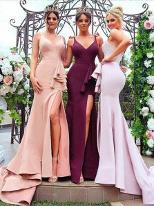 Mermaid V Neck Spaghetti Straps Blush Satin Long Bridesmaid Dresses with Slit
