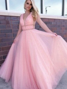 Cute V Neck Blush Pink Pearl Beading Tulle Long Prom Dresses, Fashion Party Dresses