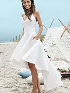 Simple A Line V Neck Spaghetti Straps White High Low Wedding Dresses, Slip Wedding Dresses with Pockets