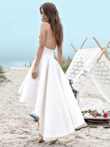 Simple A Line V Neck Spaghetti Straps White High Low Wedding Dresses, Slip Wedding Dresses with Pockets