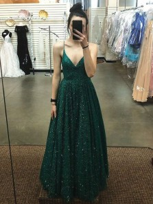 Gorgeous A Line V Neck Open Back Dark Green Long Prom Dresses, Lace Evening Party Dresses