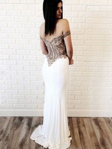 Charming Mermaid Off the Shoulder White Satin Champagne Lace Long Prom Dresses, Slit Evening Party Dresses