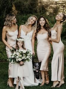 Sheath Scoop Neck Spaghetti Straps Champagne Satin Slip Bridesmaid Dresses, Summer Wedding Party Dresses