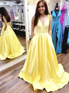 Ball Gown V Neck Open Back Daffodil Satin Prom Dresses with Pockets, Formal Evening Party Dresses