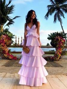 Fairy V Neck Spaghetti Straps Pink Satin Cake Prom Dresses, Formal Evening Dresses