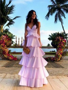 Fairy V Neck Spaghetti Straps Pink Satin Cake Prom Dresses, Formal Evening Dresses