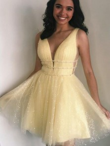 Cute A Line V Neck Open Back Sparkly Tulle Short Homecoming Dresses, Yellow Short Prom Dresses with Beading