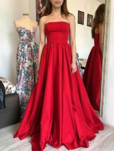 Fashion Ball Gown Strapless Red Satin Long Prom Dresses with Pockets, Cute Prom Gown