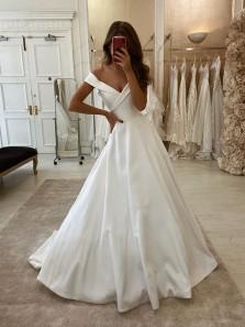 Elegant Ball Gown Off the Shoulder Satin Wedding Dresses, Fashion Satin Wedding Gowns