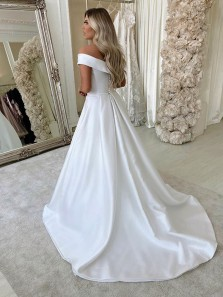 Elegant Ball Gown Off the Shoulder Satin Wedding Dresses, Fashion Satin Wedding Gowns