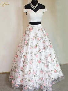 Sweet Two Piece Off the Shoulder 3D Flower Lace Prom Gown, Sweet 16 Dresses, Quinceanera Dresses