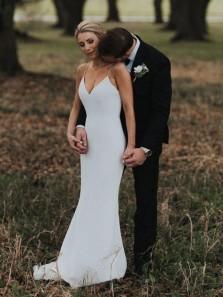 Elegant Mermaid V Neck Spaghetti Straps White Soft Satin Wedding Dresses