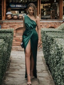 Sheath One Shoulder Dark Green Split Party Dresses, Charming Evening Dresses