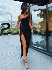 Chic One Shoulder Little Black Dresses, Split Evening Party Dresses