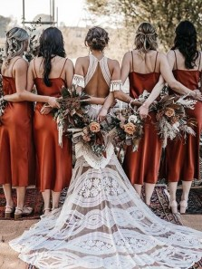 Sheath Simple Slip Dark Orange Tea Length Bridesmaid Dresses with Side Split