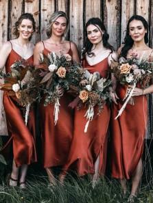 Sheath Simple Slip Dark Orange Tea Length Bridesmaid Dresses with Side Split