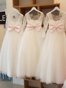 Cute A Line Round Neck Long Sleeves Lace Flower Girl Dresses, Tulle Girl Dresses with Bow
