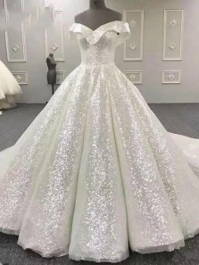 Sparkly Ball Gown Off the Shoulder Wedding Gowns, Sparkly Sequins Wedding Dresses