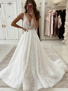 Gorgeous Ball Gown V Neck Lace Wedding Gowns, Fashion Brides Dresses with Train WD2041303