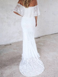 Fairy Trumpet/ Mermaid Off the Shoulder Half Sleeves White Lace Wedding Dresses with Sweep Train, Beach Wedding Dresses