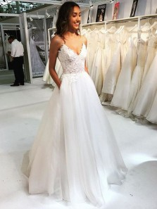 Fairy A Line V Neck Spaghetti Straps Lace Wedding Dresses with Pockets