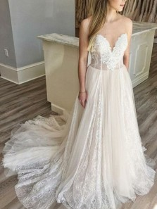 Fairy A Line Sweetheart Lace Tulle & Chiffon Beach Wedding Dresses, Boho Wedding Dress for Bride