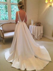 Gorgeous Ball Gown Scoop Neck Open Back Satin Wedding Dress For Bride, Retro Wedding Dress