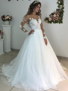 Ball Gown Round Neck Long Sleeves Lace Wedding Dresses with Appliques