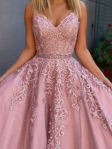 Cute A Line V Neck Two Piece Blush Pink Beading Long Prom Dresses with Appliques