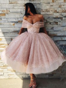 Gorgeous Off the Shoulder Blush Pink Sequins Tea Length Prom Dress, Sweet 16 Dresses