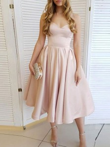 Cute A Line Sweetheart Champagne Satin Tea Length Prom Dress, Fashion Party Dress with Pockets