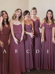 Elegant Boho Mulberry Chiffon Long Bridesmaid Dress for Wedding Party