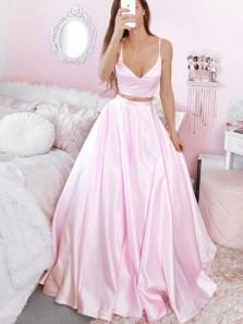 Simple V Neck Spaghetti Straps Two Piece Pink Satin Prom Dresses, Evening Dresses PD2041902