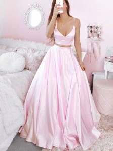 Simple V Neck Spaghetti Straps Two Piece Pink Satin Prom Dresses, Evening Dresses PD2041902