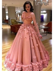 Gorgeous Ball Gown Flowes Blush Tulle Prom Dresses, Sweet 16 Dresses, Quinceanera Dresses