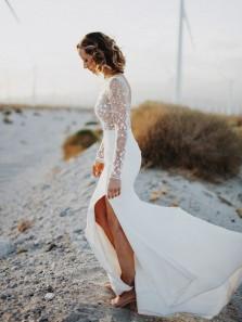 Elegant Mermaid Scoop Neck Open Back Lace Long Sleeves Wedding Dresses with Split