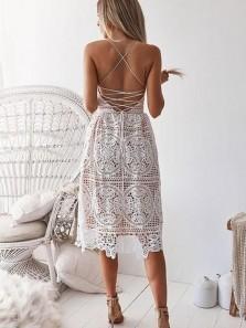 Fashion Cute V Neck Cross Back White Lace Short Dresses, Party Dresses, Cocktail Dresses