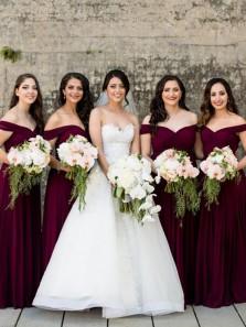 Elegant A Line Off the Shoulder Burgundy Chiffon Long Bridesmaid Dresses