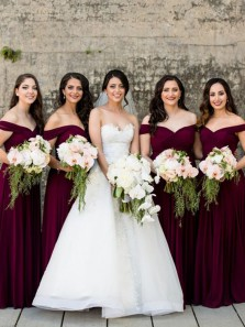 Elegant A Line Off the Shoulder Burgundy Chiffon Long Bridesmaid Dresses