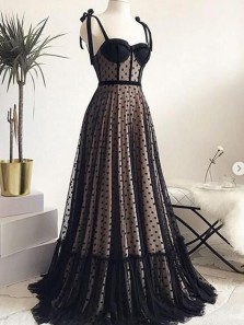 Cute A Line Sweetheart Long Tulle Black Polka Dot Dresses with Bow, Elegant Evening Dresses
