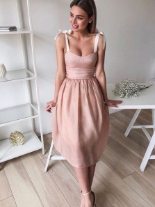 Cute A Line Sweetheart Blush Organza Short Homecoming Dresses, Party Dresses with Bow