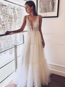 Elegant A Line V Neck Open Back Beade Appliques Tulle Long Wedding Dresses, Boho Wedding Dress