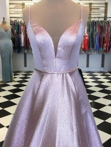 Sparkly Gorgeous V Neck Spaghetti Straps Satin Long Prom Dresses, Cute Party Dresses